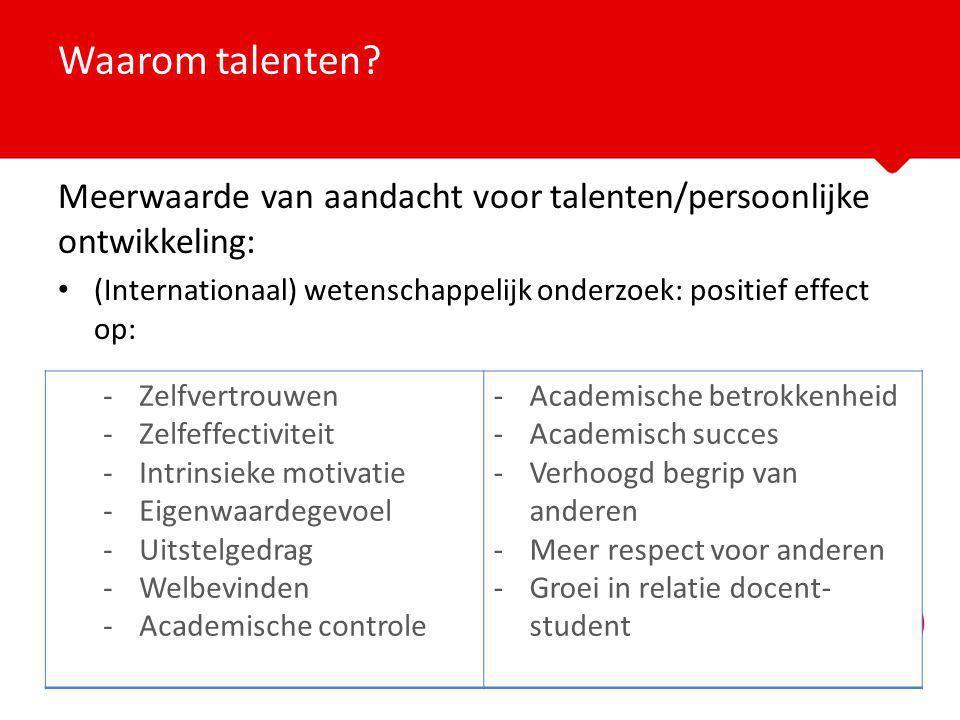 Waarom talenten Meerwaarde van aandacht voor talenten/persoonlijke ontwikkeling: (Internationaal) wetenschappelijk onderzoek: positief effect op: