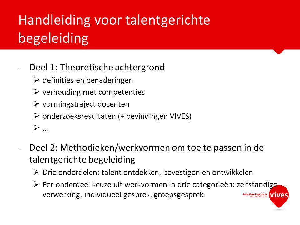 Handleiding voor talentgerichte begeleiding