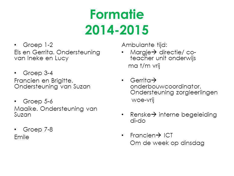 Formatie 2014-2015 Groep 1-2. Els en Gerrita. Ondersteuning van Ineke en Lucy. Groep 3-4. Francien en Brigitte. Ondersteuning van Suzan.