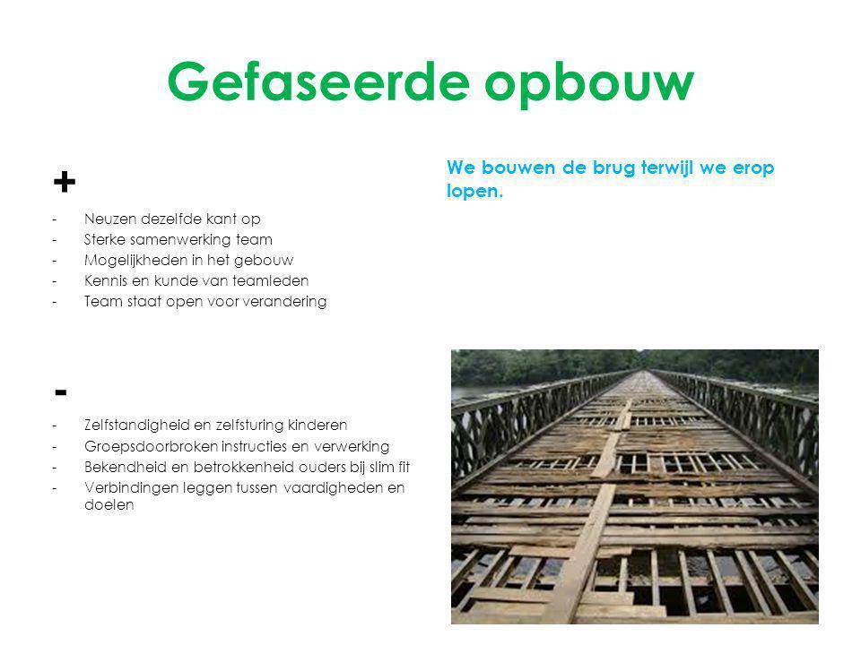 Gefaseerde opbouw + - We bouwen de brug terwijl we erop lopen.