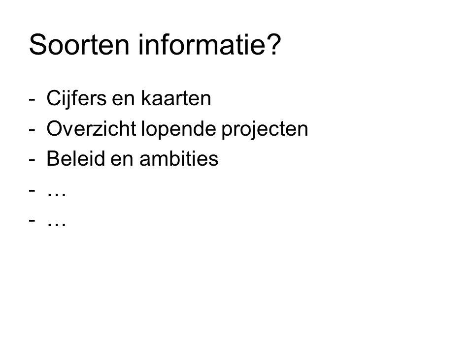 Soorten informatie Cijfers en kaarten Overzicht lopende projecten
