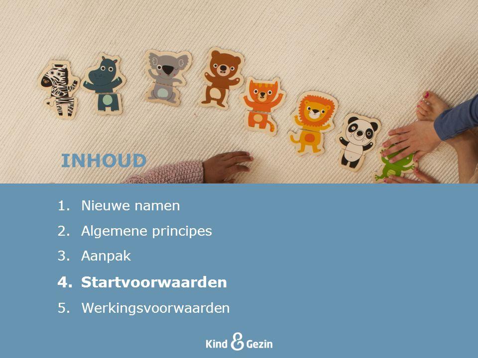 INHOUD Startvoorwaarden Nieuwe namen Algemene principes Aanpak