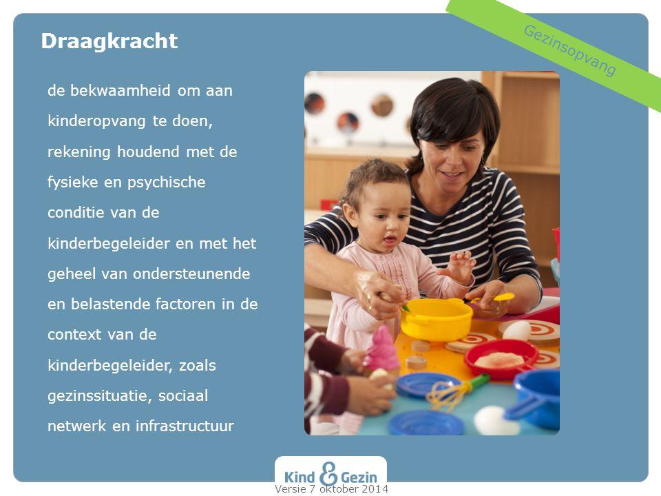 Draagkracht Gezinsopvang de bekwaamheid om aan kinderopvang te doen,
