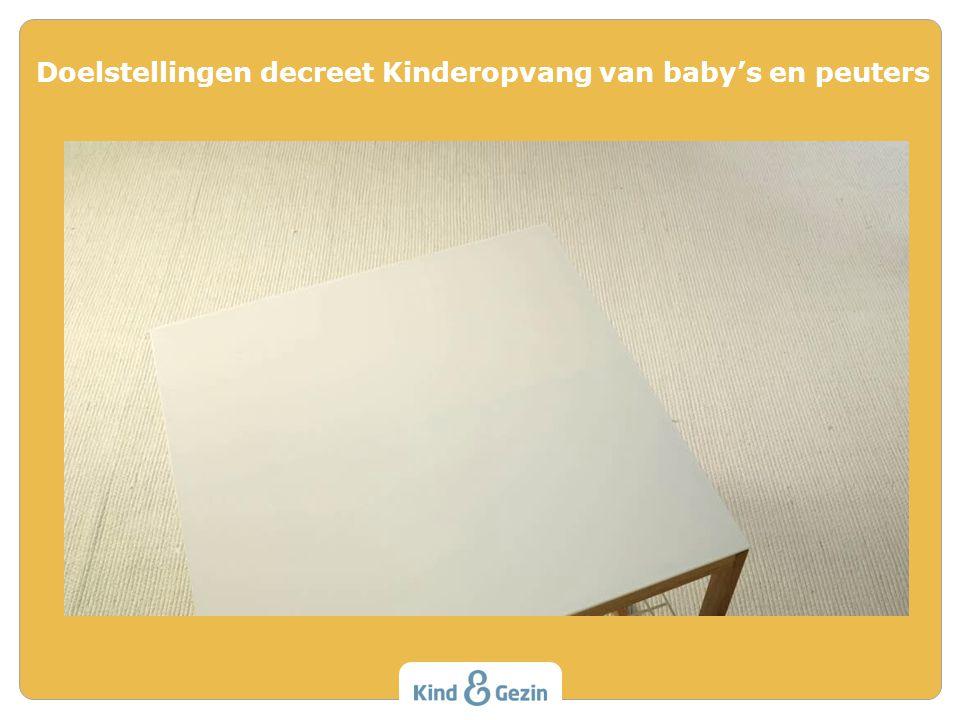 Doelstellingen decreet Kinderopvang van baby's en peuters