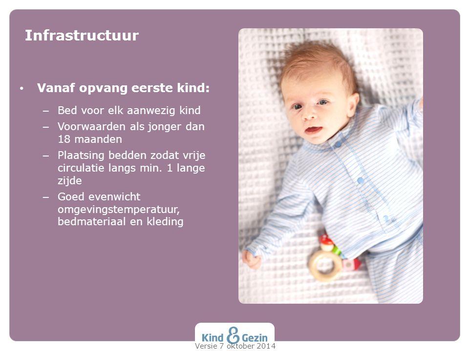 Infrastructuur Vanaf opvang eerste kind: Bed voor elk aanwezig kind