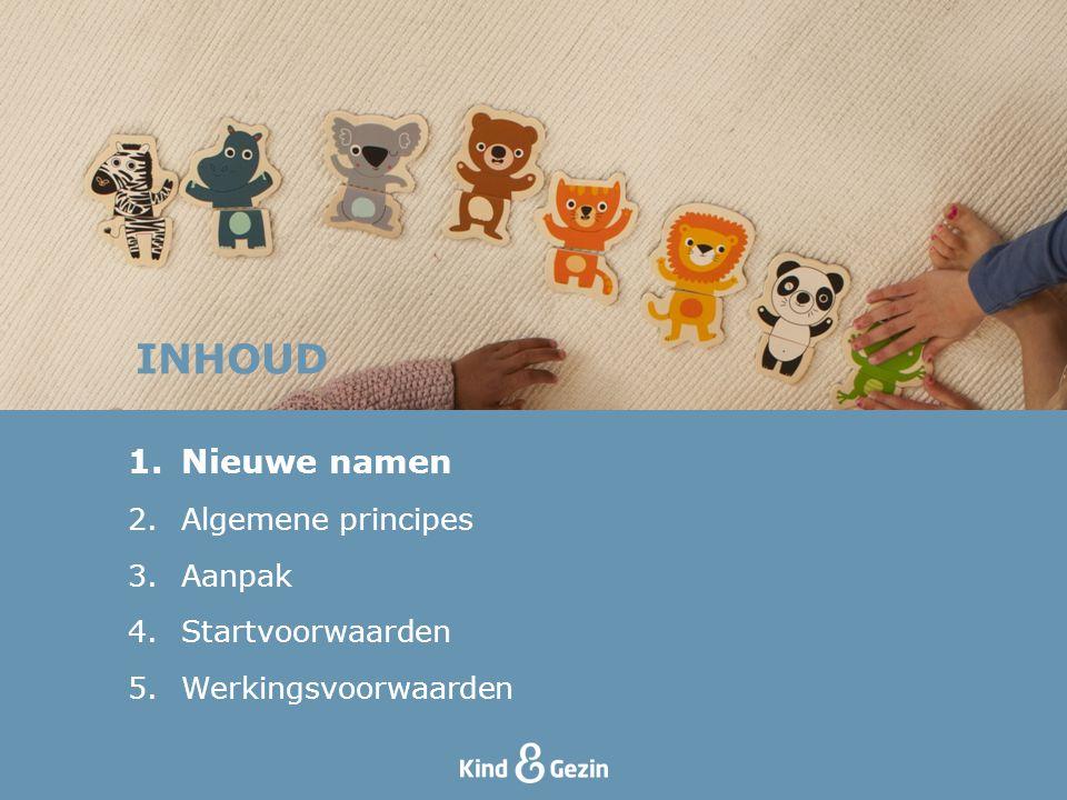 INHOUD Nieuwe namen Algemene principes Aanpak Startvoorwaarden