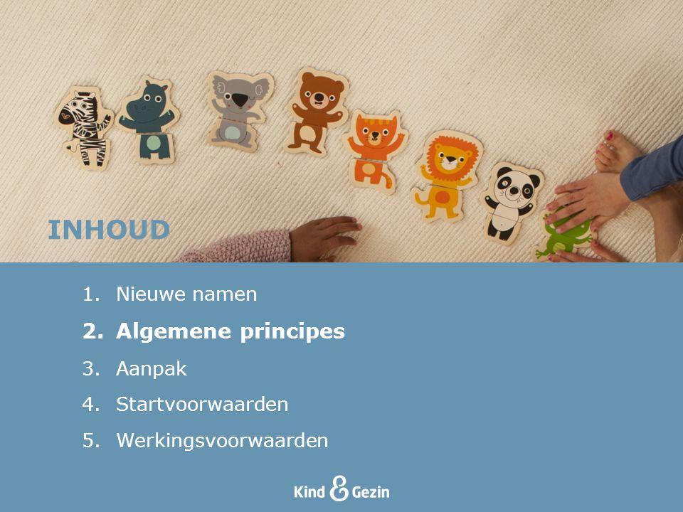 INHOUD Algemene principes Nieuwe namen Aanpak Startvoorwaarden