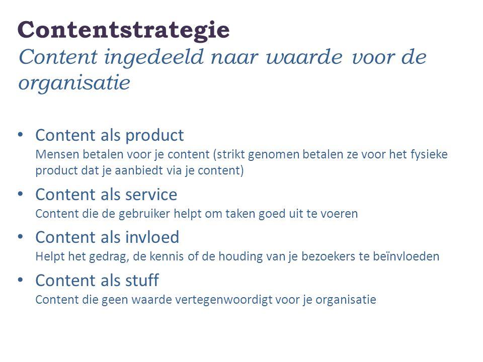 Contentstrategie Content ingedeeld naar waarde voor de organisatie