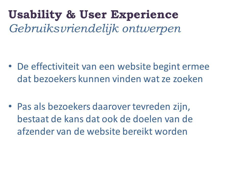 Usability & User Experience Gebruiksvriendelijk ontwerpen