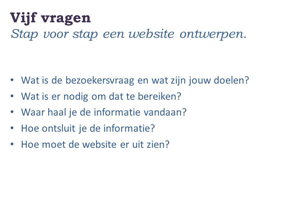 Vijf vragen Stap voor stap een website ontwerpen.