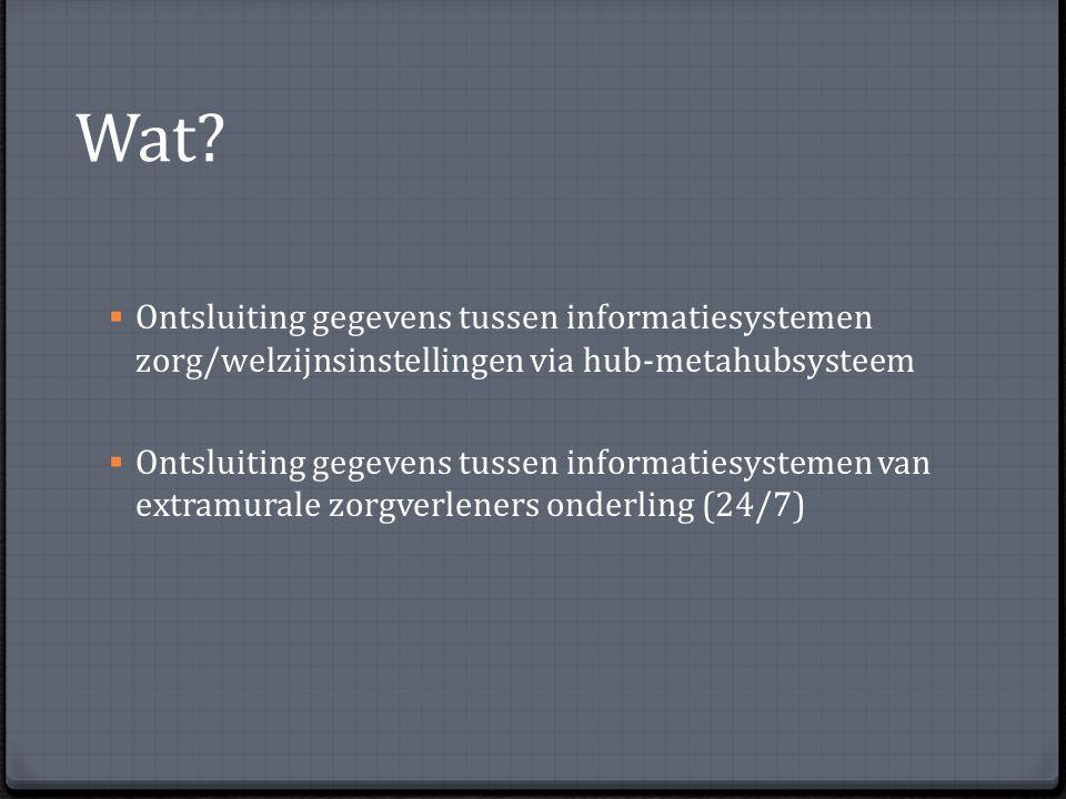 Wat Ontsluiting gegevens tussen informatiesystemen zorg/welzijnsinstellingen via hub-metahubsysteem.