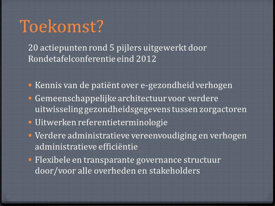 Toekomst 20 actiepunten rond 5 pijlers uitgewerkt door Rondetafelconferentie eind 2012. Kennis van de patiënt over e-gezondheid verhogen.
