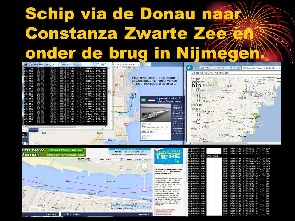 Schip via de Donau naar Constanza Zwarte Zee en onder de brug in Nijmegen.
