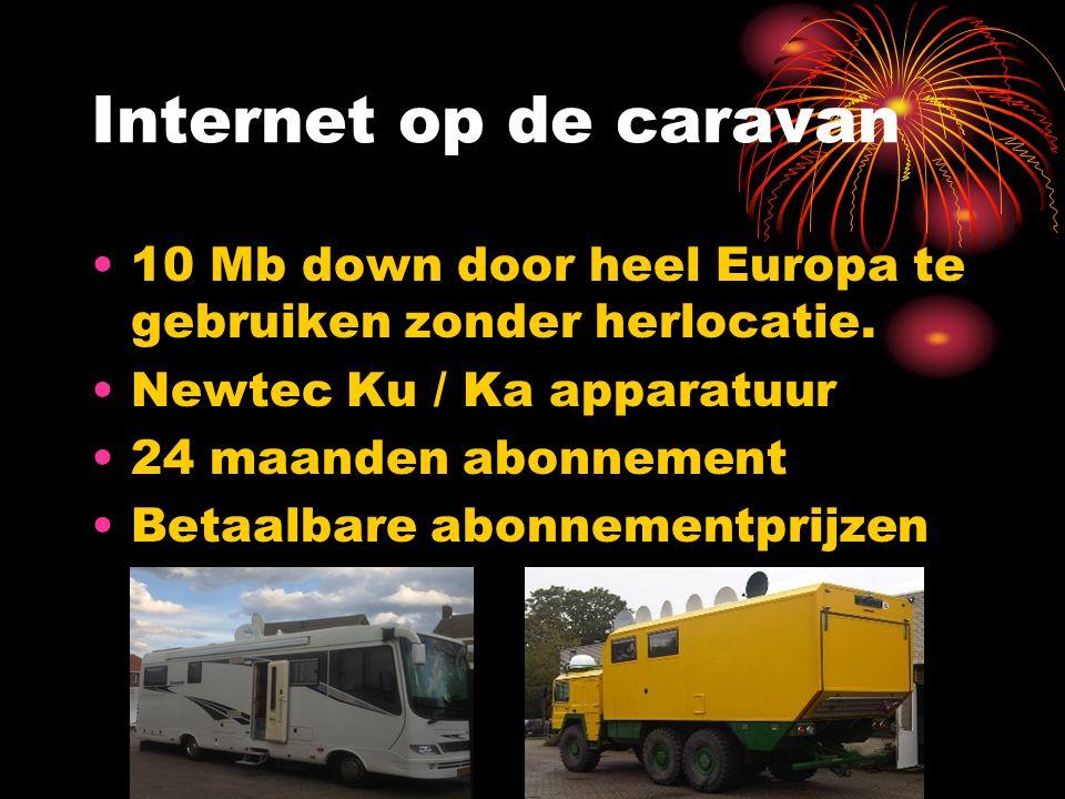 Internet op de caravan 10 Mb down door heel Europa te gebruiken zonder herlocatie. Newtec Ku / Ka apparatuur.