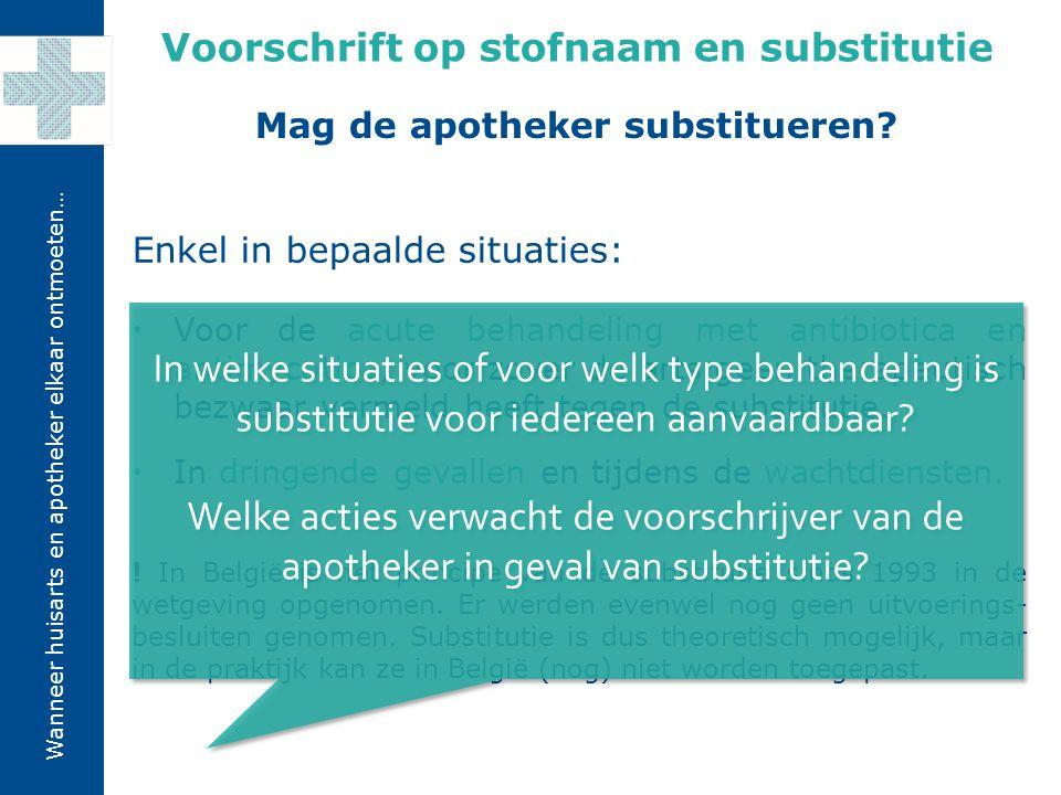 Voorschrift op stofnaam en substitutie Mag de apotheker substitueren