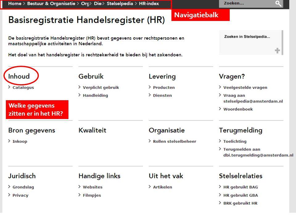 Navigatiebalk Kies onderwerp Welke gegevens zitten er in het HR