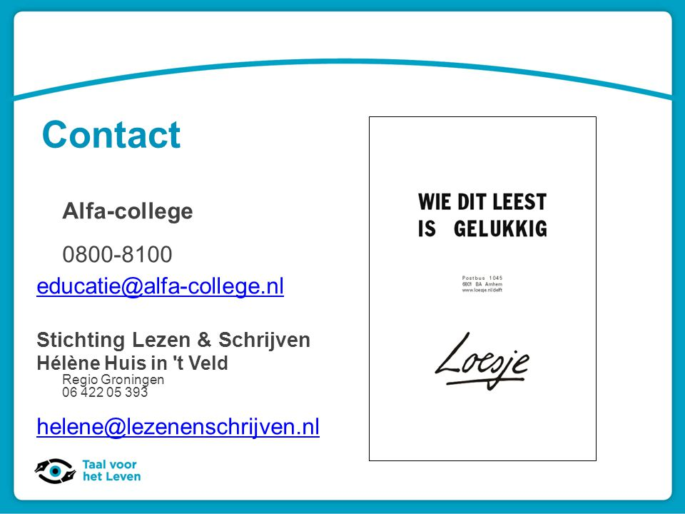 Contact Alfa-college 0800-8100 educatie@alfa-college.nl