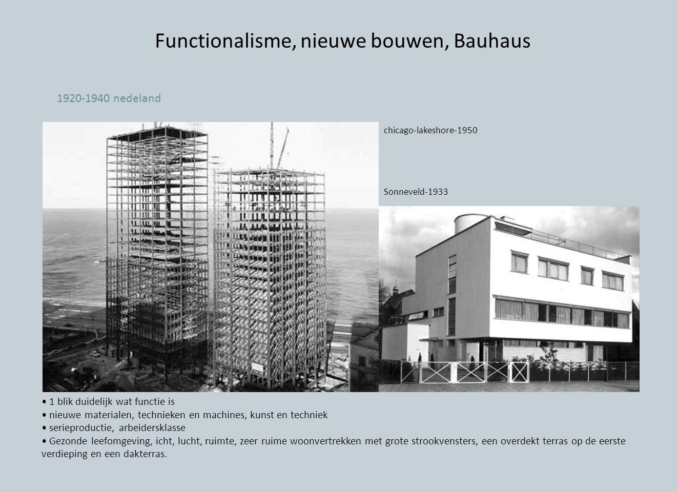 Functionalisme, nieuwe bouwen, Bauhaus
