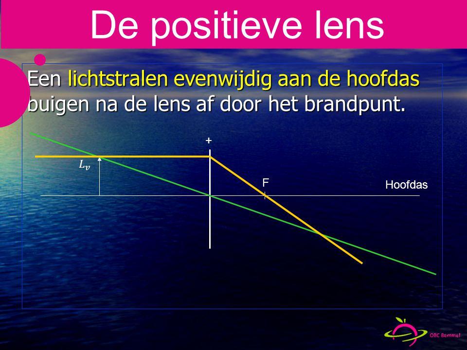 De positieve lens Een lichtstralen evenwijdig aan de hoofdas buigen na de lens af door het brandpunt.