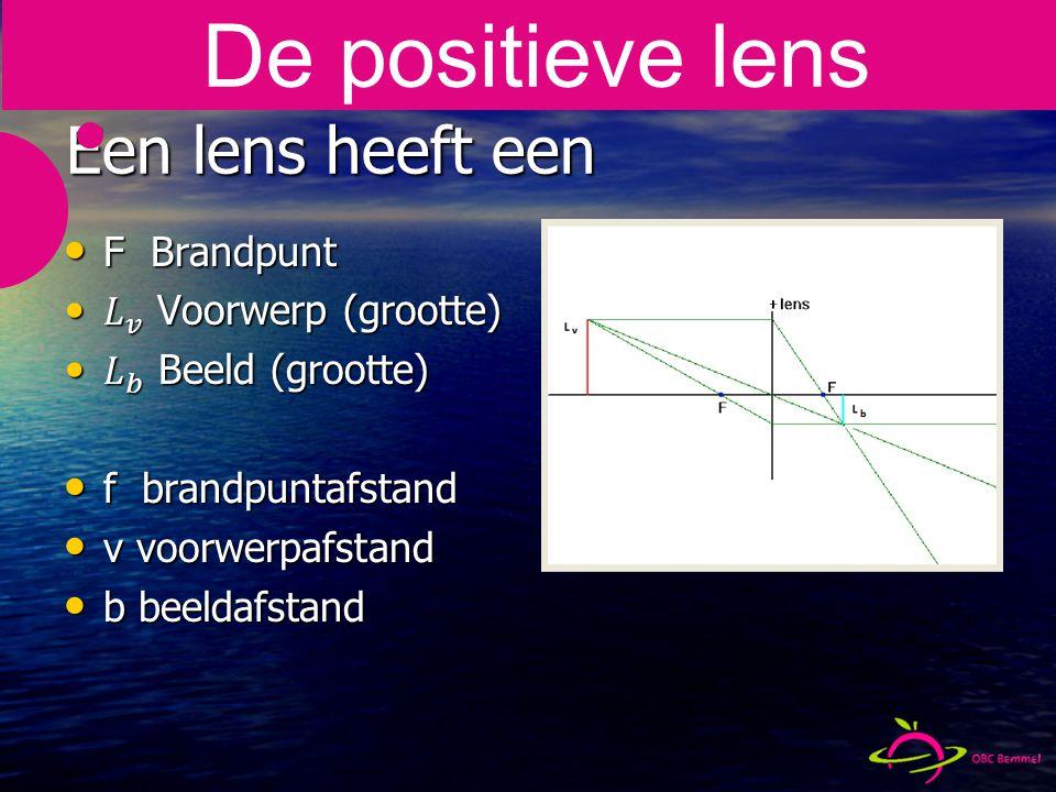 De positieve lens Een lens heeft een F Brandpunt
