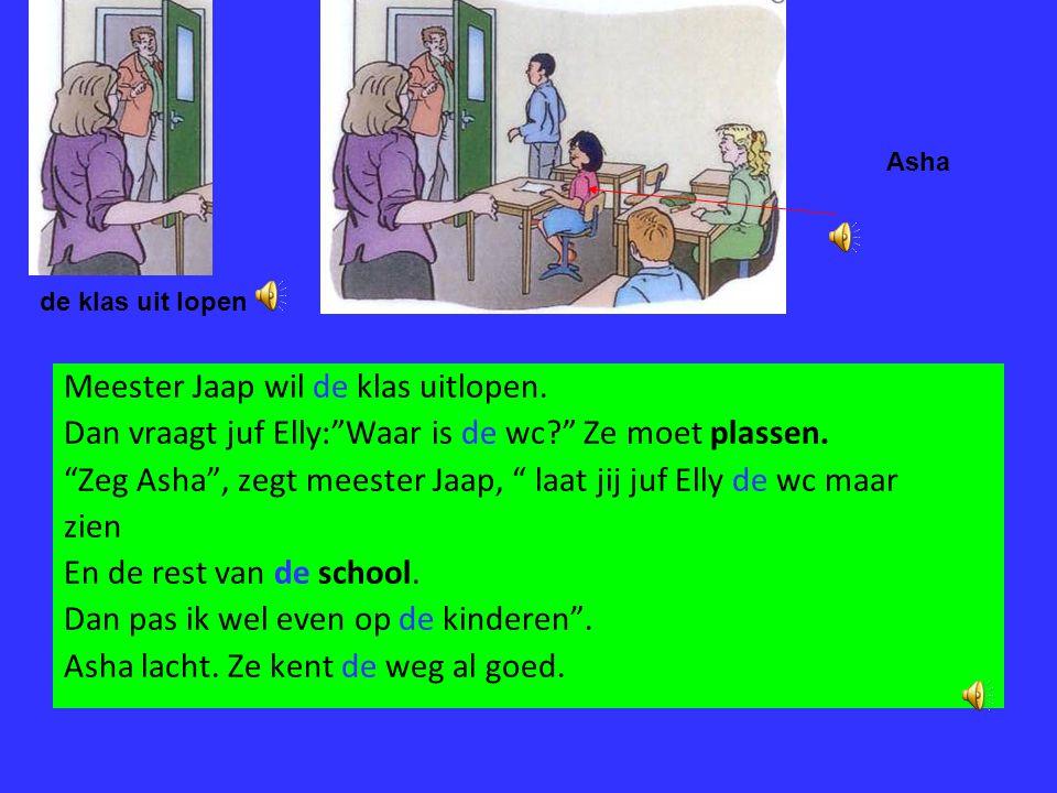 Meester Jaap wil de klas uitlopen.