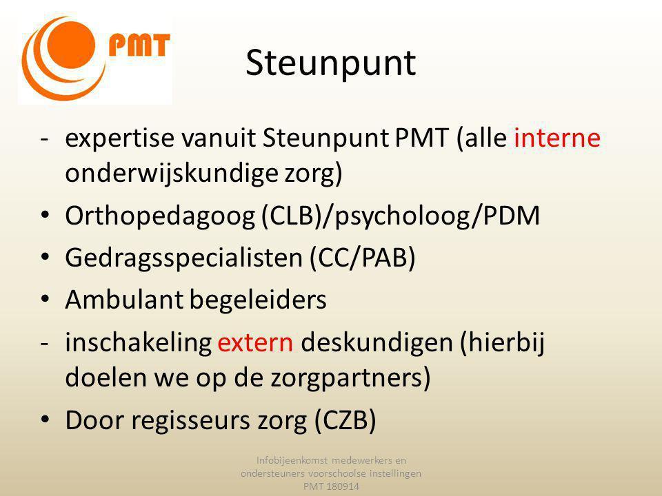 Steunpunt expertise vanuit Steunpunt PMT (alle interne onderwijskundige zorg) Orthopedagoog (CLB)/psycholoog/PDM.