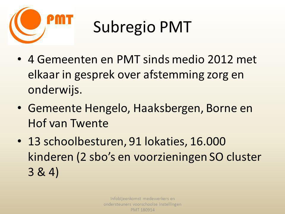 Subregio PMT 4 Gemeenten en PMT sinds medio 2012 met elkaar in gesprek over afstemming zorg en onderwijs.