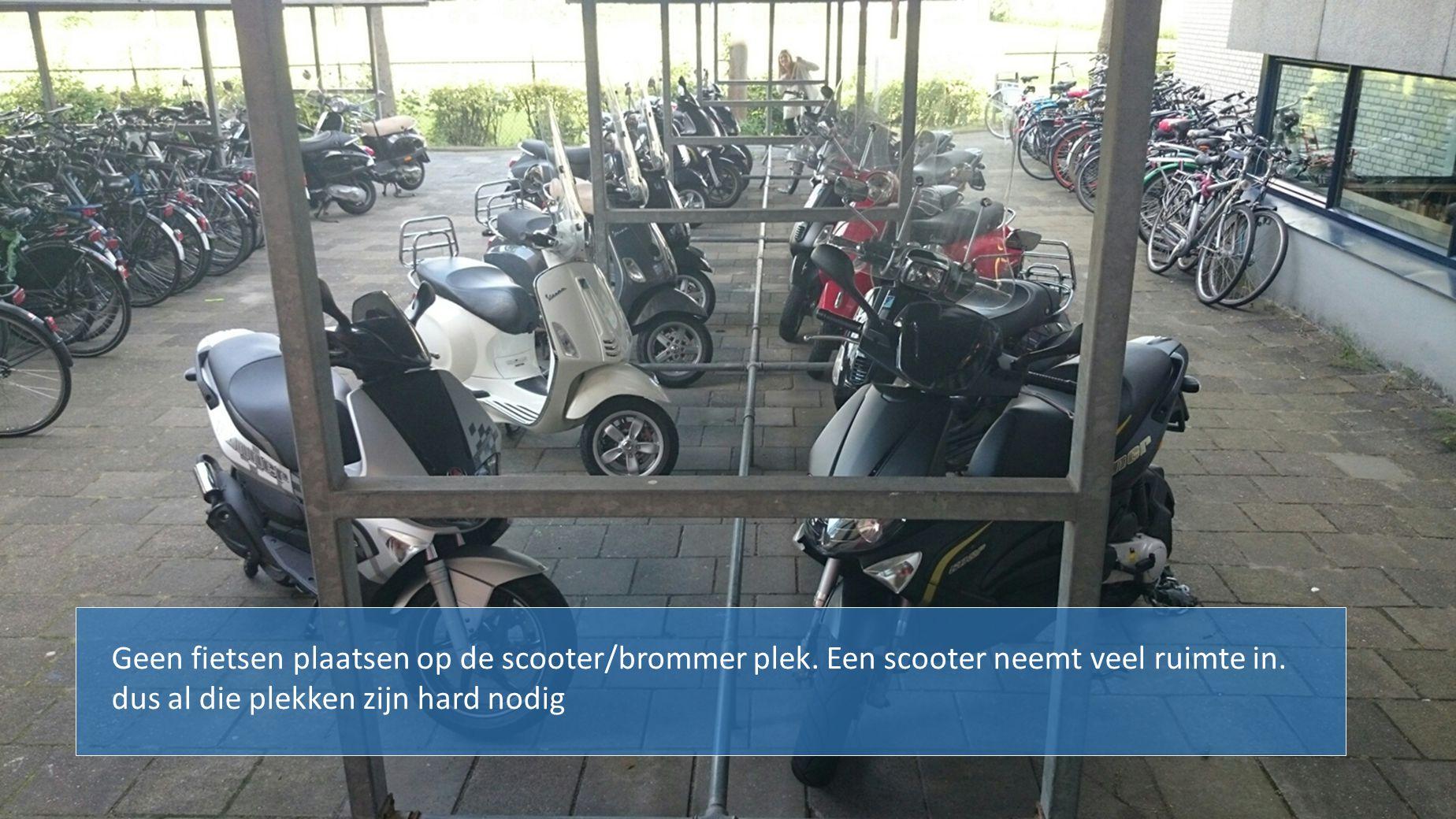Geen fietsen plaatsen op de scooter/brommer plek