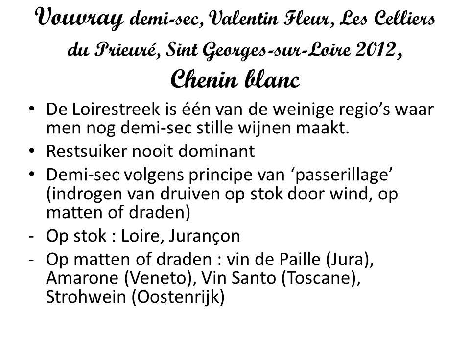 Vouvray demi-sec, Valentin Fleur, Les Celliers du Prieuré, Sint Georges-sur-Loire 2012, Chenin blanc
