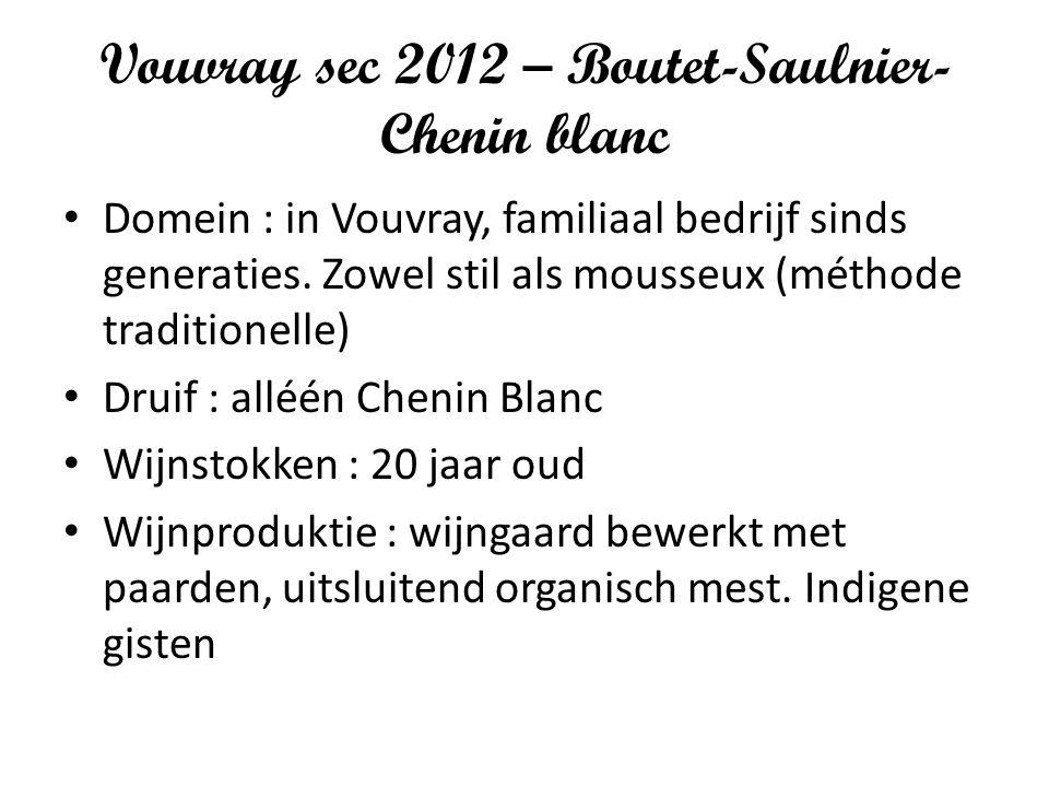 Vouvray sec 2012 – Boutet-Saulnier- Chenin blanc