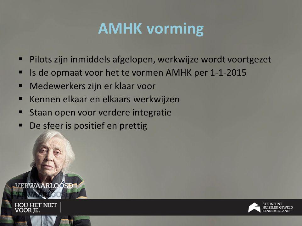 AMHK vorming Pilots zijn inmiddels afgelopen, werkwijze wordt voortgezet. Is de opmaat voor het te vormen AMHK per 1-1-2015.