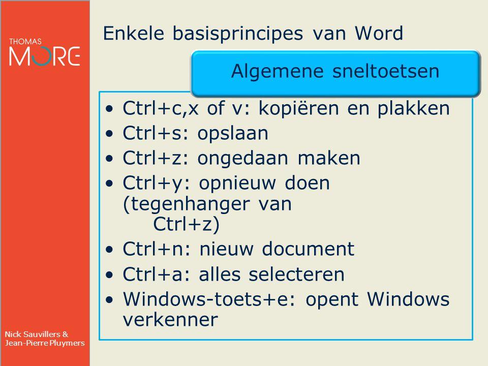 Enkele basisprincipes van Word