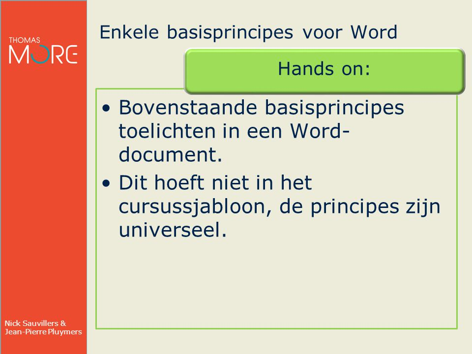Enkele basisprincipes voor Word