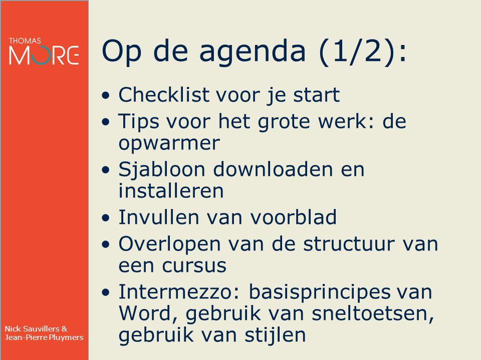 Op de agenda (1/2): Checklist voor je start