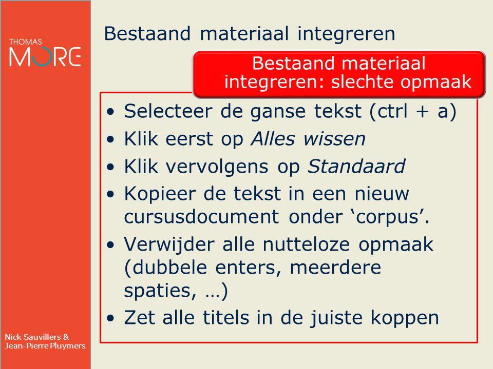 Bestaand materiaal integreren
