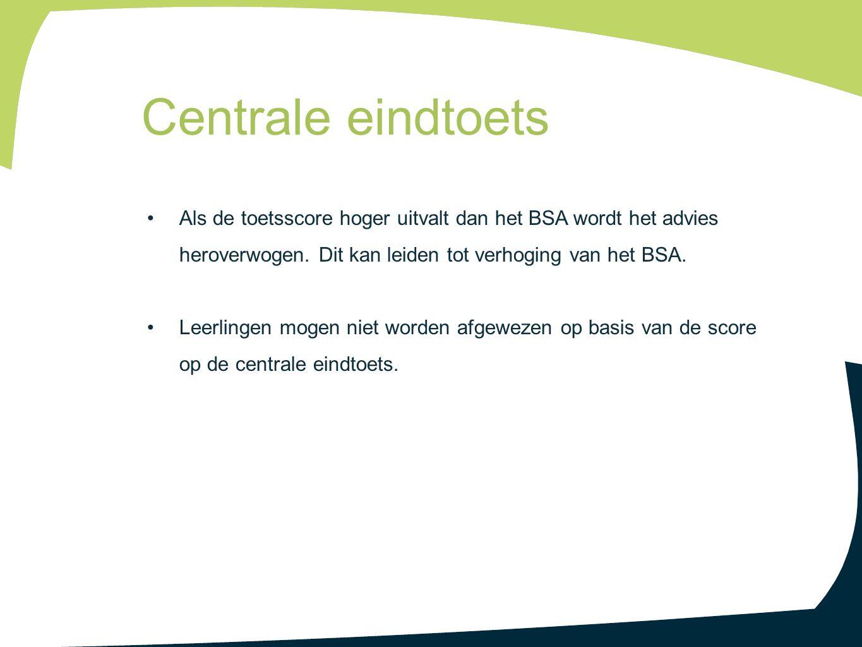 Centrale eindtoets Als de toetsscore hoger uitvalt dan het BSA wordt het advies heroverwogen. Dit kan leiden tot verhoging van het BSA.