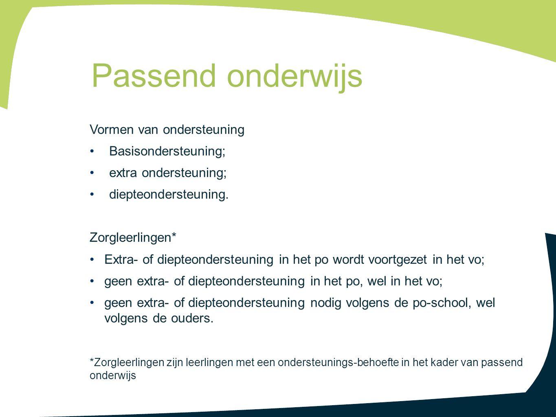 Passend onderwijs Vormen van ondersteuning Basisondersteuning;