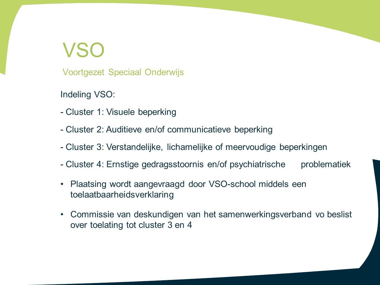 VSO Voortgezet Speciaal Onderwijs Indeling VSO: