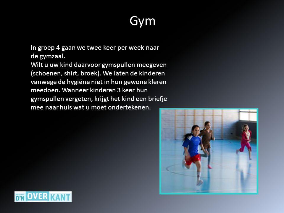 Gym In groep 4 gaan we twee keer per week naar de gymzaal.