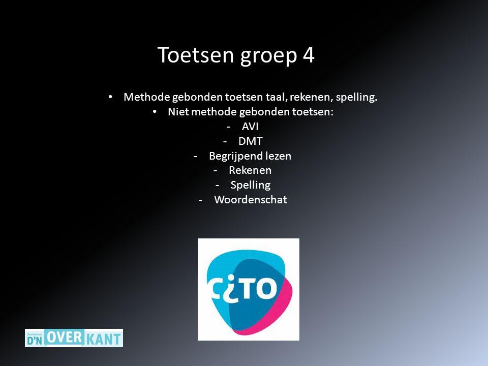 Toetsen groep 4 Methode gebonden toetsen taal, rekenen, spelling.