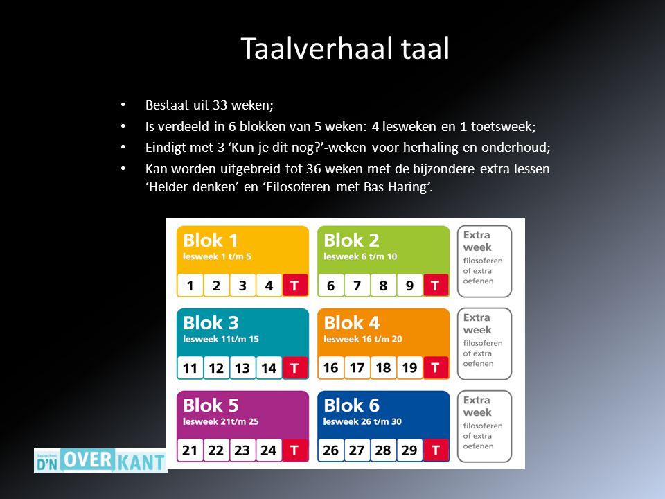 Taalverhaal taal Bestaat uit 33 weken;