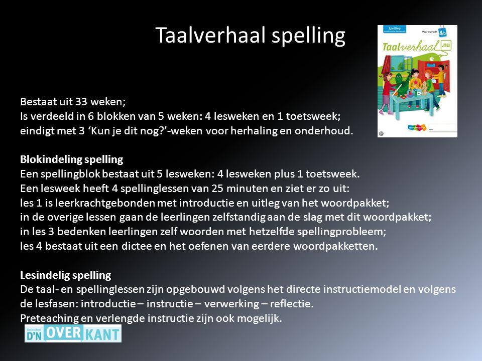 Taalverhaal spelling Bestaat uit 33 weken;