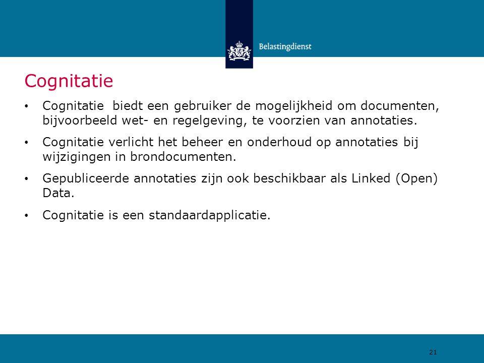 Cognitatie Cognitatie biedt een gebruiker de mogelijkheid om documenten, bijvoorbeeld wet- en regelgeving, te voorzien van annotaties.
