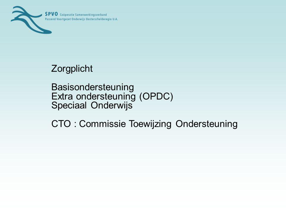 Zorgplicht Basisondersteuning. Extra ondersteuning (OPDC) Speciaal Onderwijs.