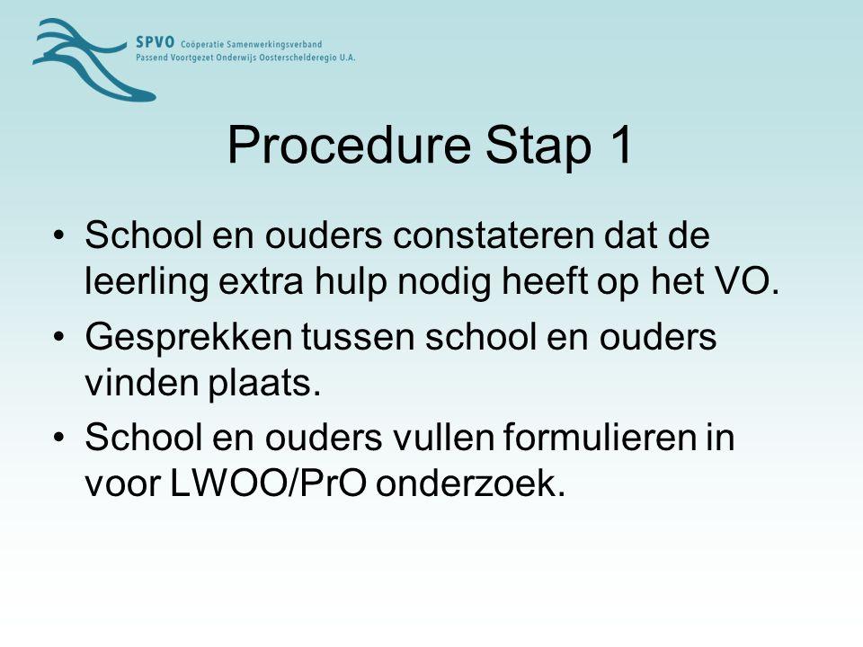 Procedure Stap 1 School en ouders constateren dat de leerling extra hulp nodig heeft op het VO. Gesprekken tussen school en ouders vinden plaats.