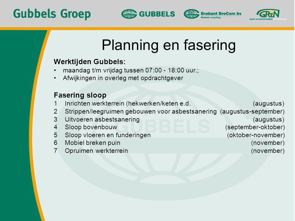 Planning en fasering Werktijden Gubbels: Fasering sloop
