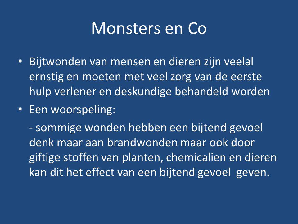 Monsters en Co Bijtwonden van mensen en dieren zijn veelal ernstig en moeten met veel zorg van de eerste hulp verlener en deskundige behandeld worden.