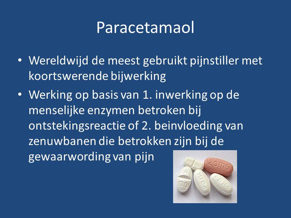 Paracetamaol Wereldwijd de meest gebruikt pijnstiller met koortswerende bijwerking.