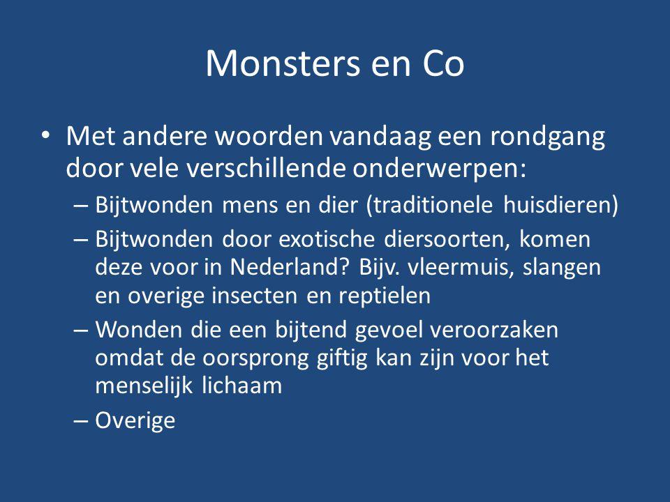 Monsters en Co Met andere woorden vandaag een rondgang door vele verschillende onderwerpen: Bijtwonden mens en dier (traditionele huisdieren)