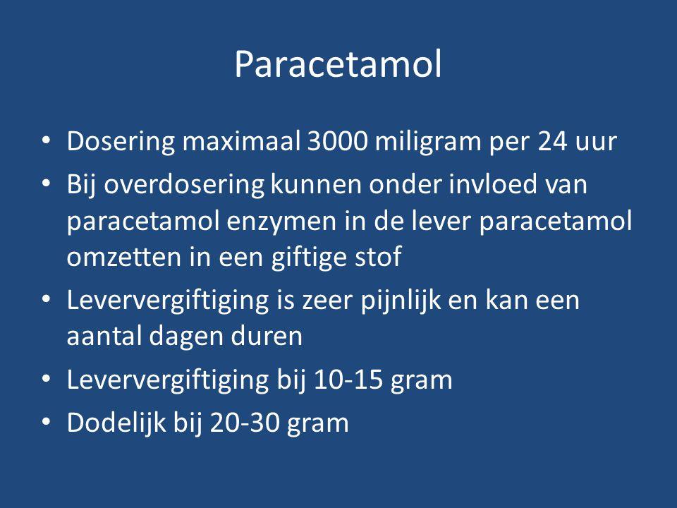 Paracetamol Dosering maximaal 3000 miligram per 24 uur